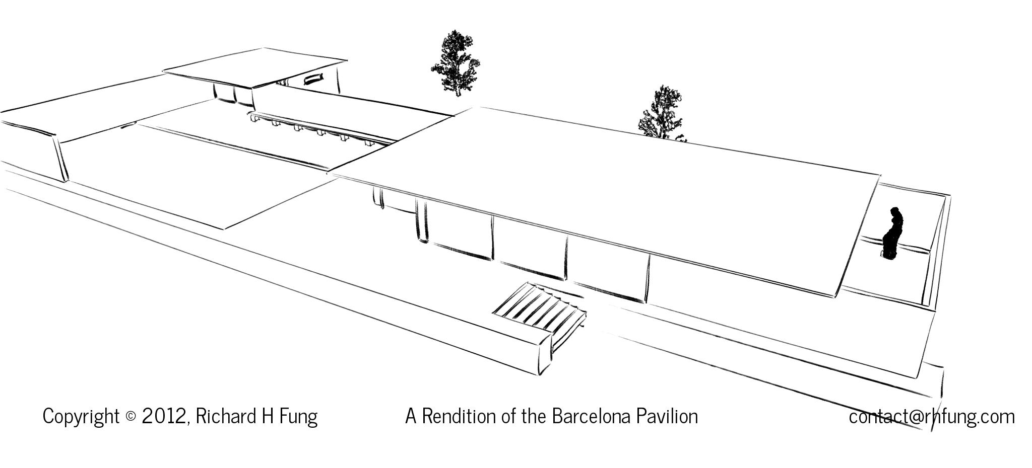 Barcelona pavilion exterior - Flyover