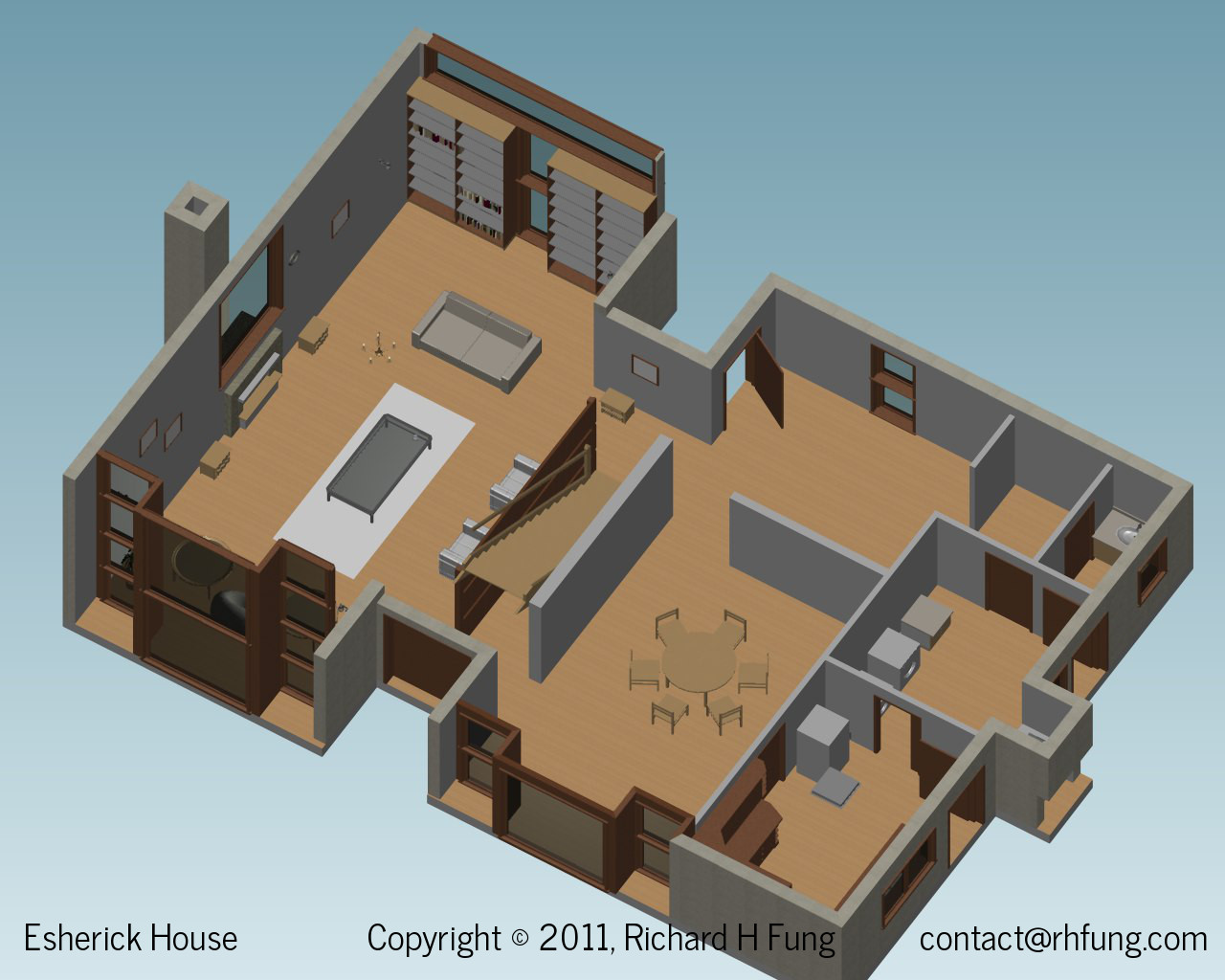 Esherick House isometric view of the first floor