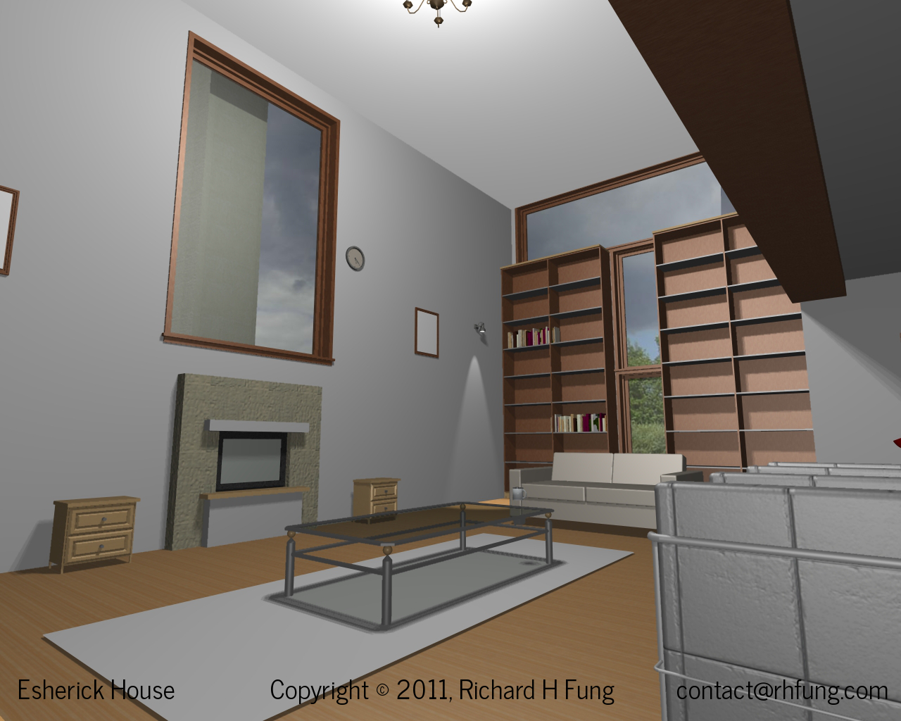 3D rendering of the Esherick House living room