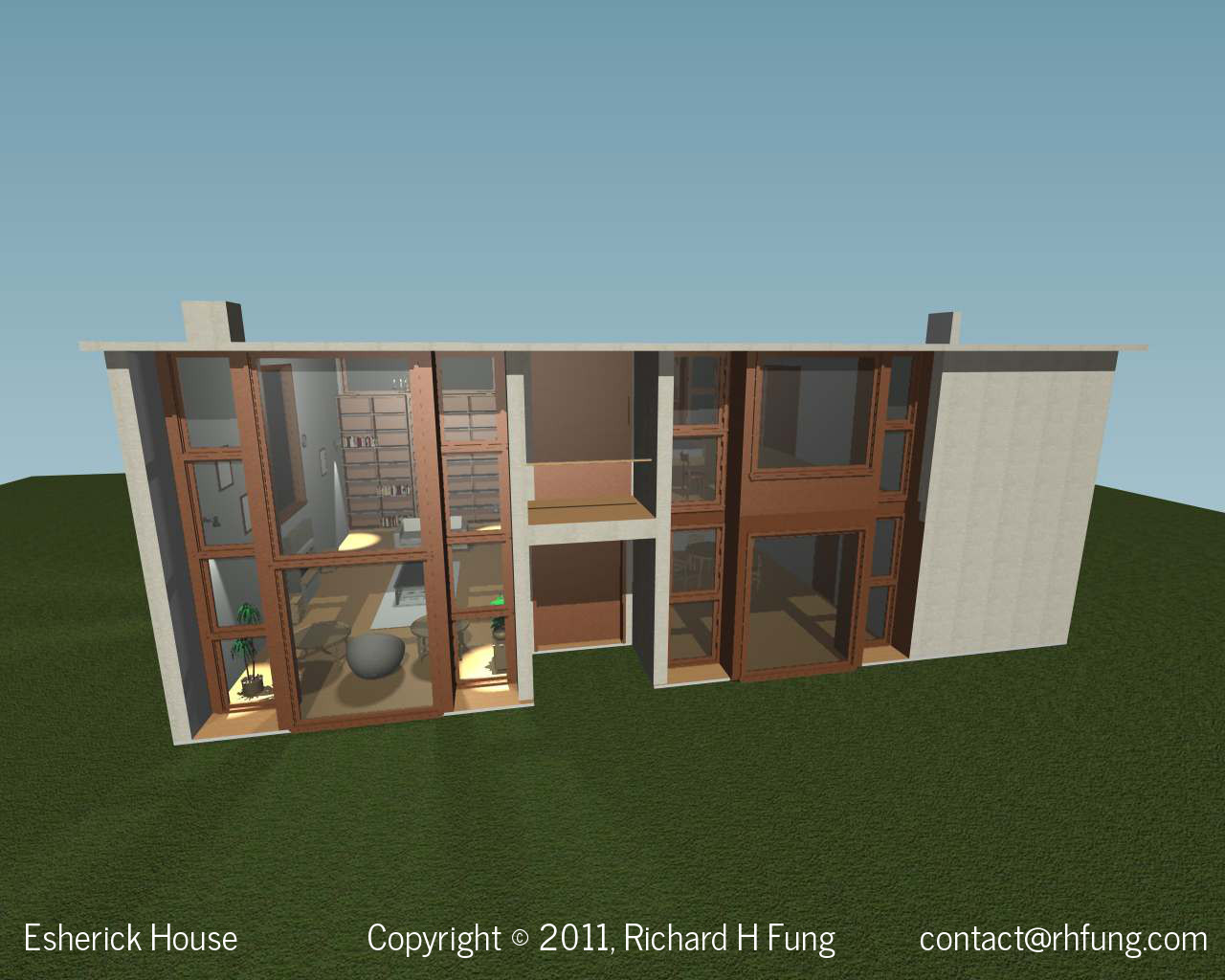 Esherick House Back Of House In 3D Rendering