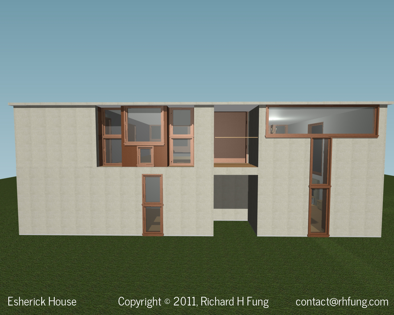 Esherick House front of house in 3D rendering