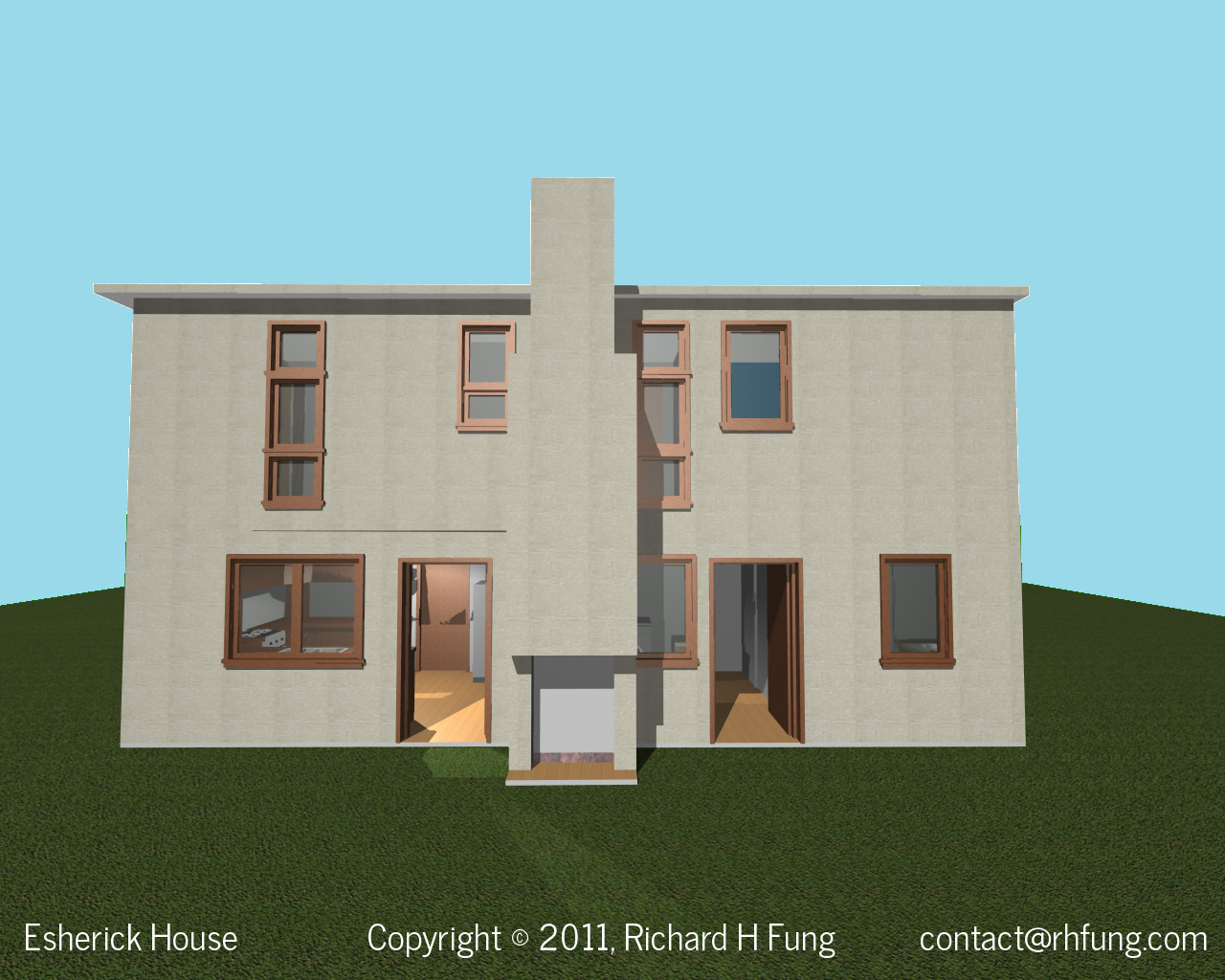 Esherick House kitchen in 3D rendering